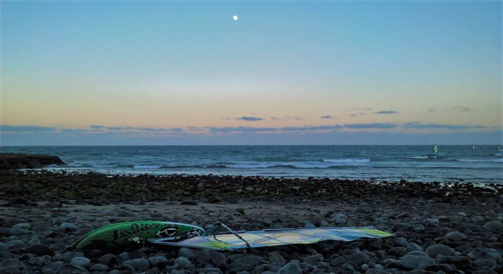 windsurf, luna, surfare sotto la luna